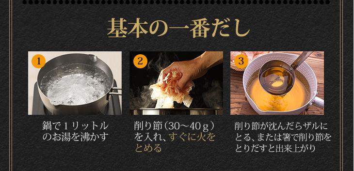 基本の一番だし ①鍋で1リットル のお湯を沸かす ②削り節(30~40g) を入れ、すぐに火をとめる ③削り節が沈んだらザルにとる、または箸で削り節をとりだすと出来上がり
